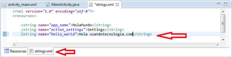 String en proyecto android